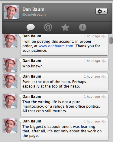 Dan Baum's twitter