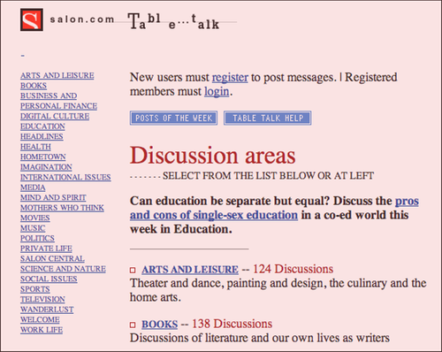 Table Talk home page, circa 1999